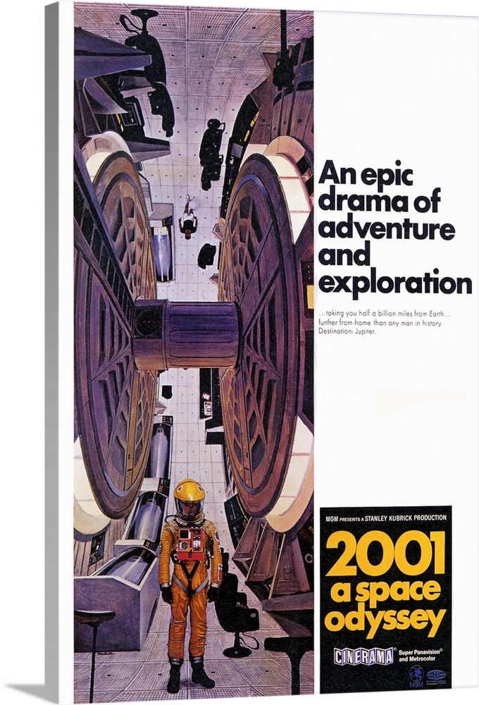 Large Solid-Faced Canvas Print Wall Art Print 20 x 30 entitled 2001: A Space Odyssey (1968) Solid-Faced Canvas Print entitled 2001 A Space Odyssey 1968.  Space voyage to Jupiter turns chaotic when a computer, HAL 9000, takes over. Seen by some as a mirror of mans historical use of machinery and by others as a grim vision of the future, the special effects and music are still stunning. Critically acclaimed and well accepted by some, simply confusing to others. Martin Balsam originally recorded the voice of HAL, but was replaced by Rain. From Arthur C. Clarkes short story The Sentinel. Followed by a sequel 2010 The Year We Make Contact.  Multiple sizes available.  Primary colors within this image include Brown, Light Yellow, Black, White.  Made in the USA.  All products come with a 365 day workmanship guarantee.  Archival-quality UV-resistant inks.  Archival inks prevent fading and preserve as much fine detail as possible with no over-saturation or color shifting.  Canvas is handcrafted and made-to-order in the United States using high quality artist-grade canvas.