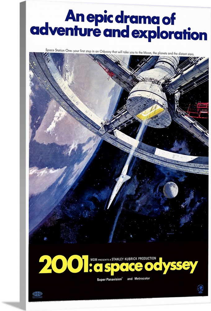 Large Solid-Faced Canvas Print Wall Art Print 20 x 30 entitled 2001: A Space Odyssey (1968) Solid-Faced Canvas Print entitled 2001 A Space Odyssey 1968.  Space voyage to Jupiter turns chaotic when a computer, HAL 9000, takes over. Seen by some as a mirror of mans historical use of machinery and by others as a grim vision of the future, the special effects and music are still stunning. Critically acclaimed and well accepted by some, simply confusing to others. Martin Balsam originally recorded the voice of HAL, but was replaced by Rain. From Arthur C. Clarkes short story The Sentinel. Followed by a sequel 2010 The Year We Make Contact.  Multiple sizes available.  Primary colors within this image include Yellow, Dark Blue, Black, Pale Blue.  Made in USA.  All products come with a 365 day workmanship guarantee.  Inks used are latex-based and designed to last.  Archival inks prevent fading and preserve as much fine detail as possible with no over-saturation or color shifting.  Canvas is handcrafted and made-to-order in the United States using high quality artist-grade canvas.