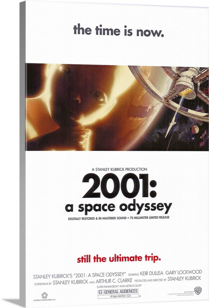 Large Solid-Faced Canvas Print Wall Art Print 20 x 30 entitled 2001: A Space Odyssey (1968) Solid-Faced Canvas Print entitled 2001 A Space Odyssey 1968.  Space voyage to Jupiter turns chaotic when a computer, HAL 9000, takes over. Seen by some as a mirror of mans historical use of machinery and by others as a grim vision of the future, the special effects and music are still stunning. Critically acclaimed and well accepted by some, simply confusing to others. Martin Balsam originally recorded the voice of HAL, but was replaced by Rain. From Arthur C. Clarkes short story The Sentinel. Followed by a sequel 2010 The Year We Make Contact.  Multiple sizes available.  Primary colors within this image include Peach, Dark Gray, White, Gray Blue.  Made in USA.  Satisfaction guaranteed.  Archival-quality UV-resistant inks.  Canvas depth is 1.25 and includes a finished backing with pre-installed hanging hardware.  Featuring a proprietary design, our canvases produce the tightest corners without any bubbles, ripples, or bumps and will not warp or sag over time.