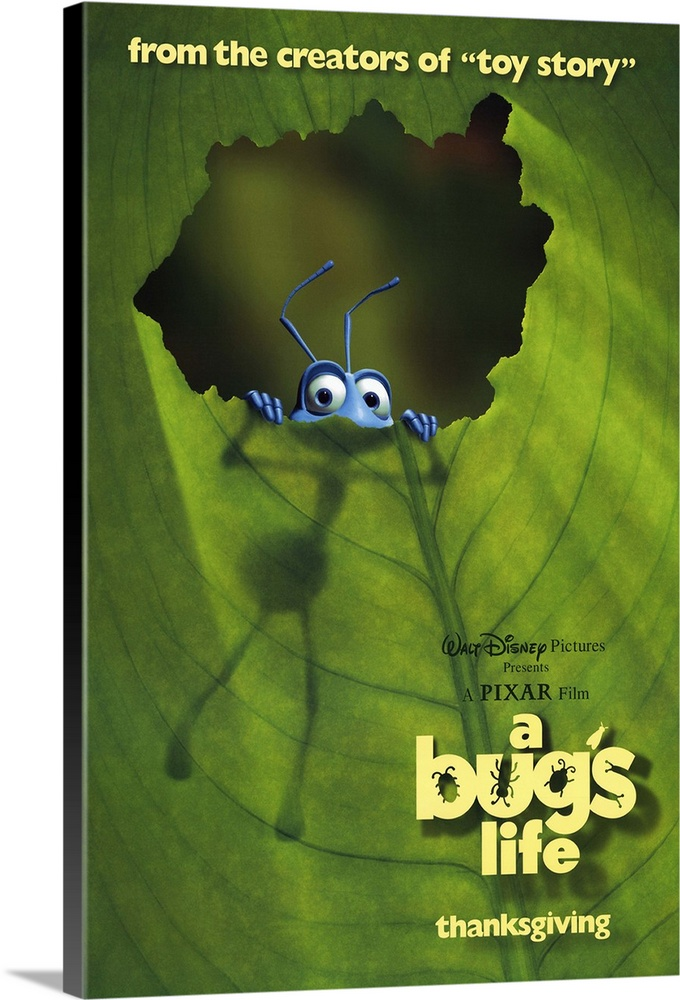 Large Solid-Faced Canvas Print Wall Art Print 20 x 30 entitled A Bugs Life (1998) Solid-Faced Canvas Print entitled A Bugs Life 1998.  Computer animated feature by Pixar, the makers of Toy Story, takes a cutesy look into the world of insects. Flik Foley is an ant who must help defend his colony after he messes up a tribute to a bullying group of grasshoppers led by Hopper Spacey. He recruits a crew of misfits from a flea circus, including a male ladybug with gender issues Leary, a prissy stick bug Pierce, and an obese caterpillar Ranft. Together they form a plan to keep the grasshoppers away, but still must confront Hopper in order to ensure lasting peace. Amazing animation, from the blades of grass down to the facial expressions of the bugs, along with dozens of sight gags keep this family feature flying. Competed with fellow computer animated insect feature Antz on its release.  Multiple sizes available.  Primary colors within this image include Forest Green, Light Yellow, Sky Blue, Dark Gray.  Made in USA.  Satisfaction guaranteed.  Inks used are latex-based and designed to last.  Canvas is handcrafted and made-to-order in the United States using high quality artist-grade canvas.  Archival inks prevent fading and preserve as much fine detail as possible with no over-saturation or color shifting.