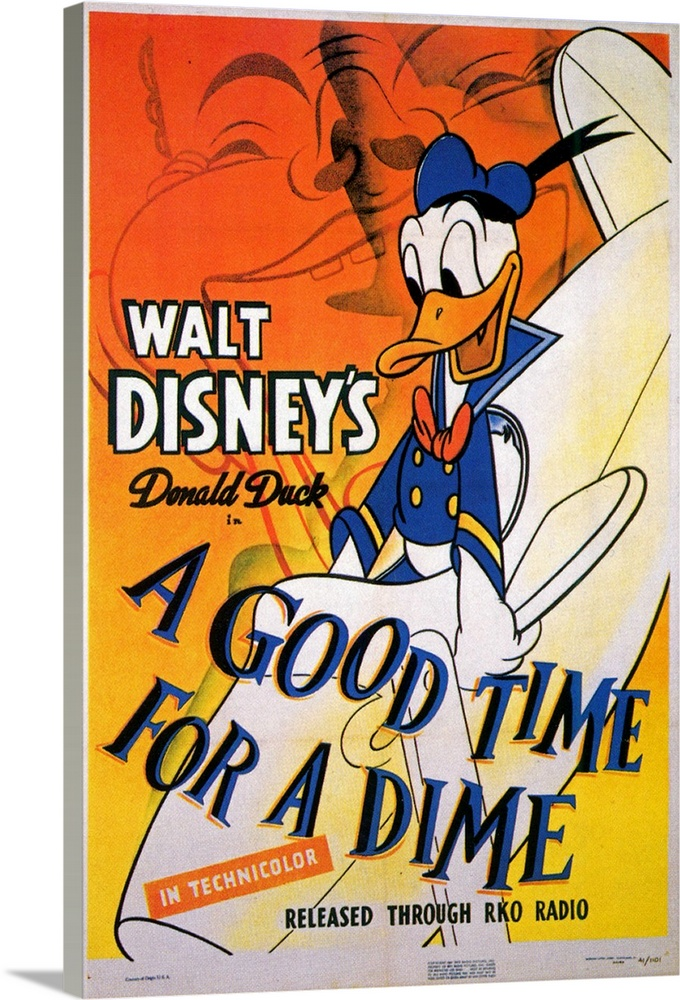 Large Solid-Faced Canvas Print Wall Art Print 20 x 30 entitled A Good Time for a Dime (1941) Solid-Faced Canvas Print entitled A Good Time for a Dime 1941.  Multiple sizes available.  Primary colors within this image include Orange, Yellow, Black, White.  Made in USA.  Satisfaction guaranteed.  Inks used are latex-based and designed to last.  Featuring a proprietary design, our canvases produce the tightest corners without any bubbles, ripples, or bumps and will not warp or sag over time.  Archival inks prevent fading and preserve as much fine detail as possible with no over-saturation or color shifting.