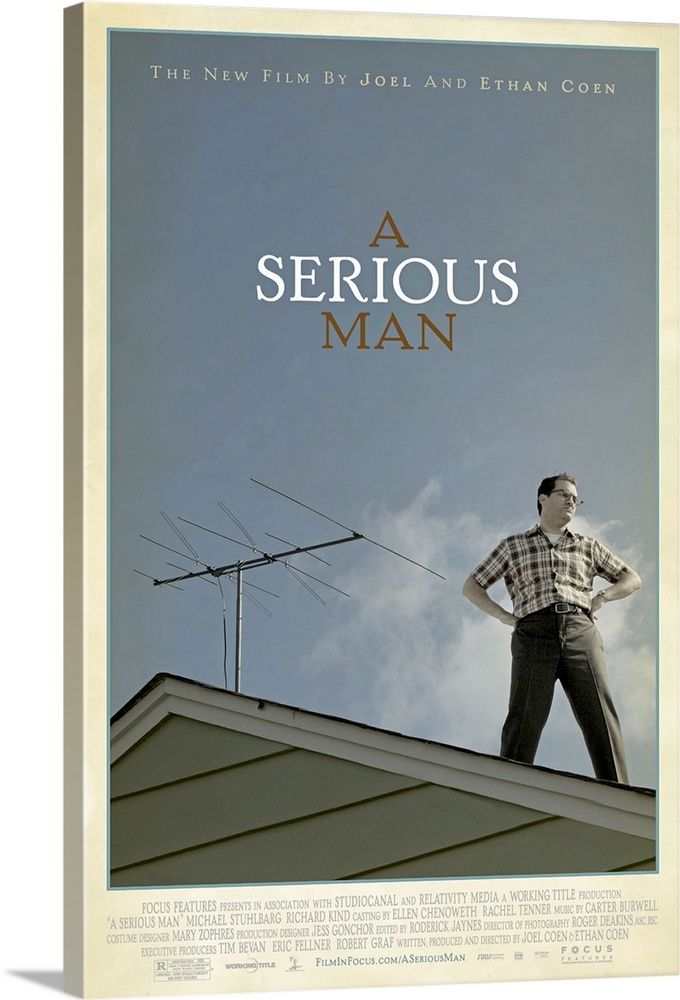 Large Solid-Faced Canvas Print Wall Art Print 20 x 30 entitled A Serious Man (2009) Solid-Faced Canvas Print entitled A Serious Man 2009.  The story follows an ordinary mans search for clarity in a universe where Jefferson Airplane is on the radio and F-Troop is on TV. It is 1967, and Larry Gopnik, a physics professor at a quiet midwestern university, has just been informed by his wife Judith that she is leaving him. She has fallen in love with one of his more pompous colleagues, Sy Ableman, who seems to her a more substantial person than the feckless Larry. Larrys unemployable brother Arthur is sleeping on the couch, his son Danny is a discipline problem and a shirker at Hebrew school, and his daughter Sarah is filching money from his wallet in order to save up for a nose job. While his wife and Sy Ableman blithely make new domestic arrangements, and his brother becomes more and more of a burden, an anonymous hostile letter-writer is trying to sabotage Larrys chances for tenure at the university. Also, a graduate student seems to be trying to bribe him for a passing grade while at the same time threatening to sue him for defamation. Plus, the beautiful woman next door torments him by sunbathing nude. Struggling for equilibrium, Larry seeks advice from three different rabbis. Can anyone help him cope with his afflictions and become a righteous person a mensch, a serious man.  Multiple sizes available.  Primary colors within this image include White, Dark Forest Green, Gray Blue.  Made in USA.  All products come with a 365 day workmanship guarantee.  Inks used are latex-based and designed to last.  Canvas is handcrafted and made-to-order in the United States using high quality artist-grade canvas.  Featuring a proprietary design, our canvases produce the tightest corners without any bubbles, ripples, or bumps and will not warp or sag over time.