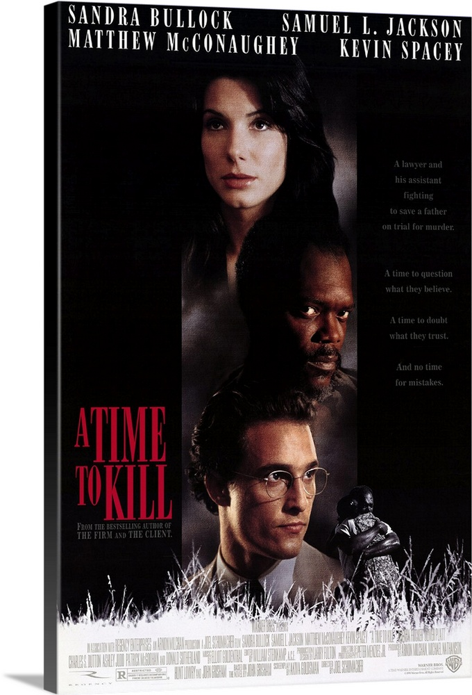 Large Solid-Faced Canvas Print Wall Art Print 20 x 30 entitled A Time To Kill (1996) Solid-Faced Canvas Print entitled A Time To Kill 1996.  Powerful story of revenge, racism, and the question of justice in the new south. John Grisham had a lot of clout when he finally sold his first and favorite novel to the movies, including veto power over the leading man--director Schumacher was for Woody Harrelson, Grisham was opposed but both finally agreed on newcomer McConaughey. Hes outstanding as idealistic smalltown Mississippi lawyer Jake Brigance, called to defend anguished father Carl Lee Hailey Jackson, whos accused of killing the rednecks who raped his young daughter. Jakes assisted by former mentor Lucien Wilbanks Sutherland and ambitious northern law student Ellen Roark Bullock against ruthless prosecutor Rufus Buckley Spacey. Is it emotionally manipulative You betcha. But Grishams done well on screen and Schumacher who also did The Client knows how to get the most from his cast and script.  Multiple sizes available.  Primary colors within this image include Dark Red, Peach, Black, White.  Made in USA.  Satisfaction guaranteed.  Inks used are latex-based and designed to last.  Canvas depth is 1.25 and includes a finished backing with pre-installed hanging hardware.  Featuring a proprietary design, our canvases produce the tightest corners without any bubbles, ripples, or bumps and will not warp or sag over time.