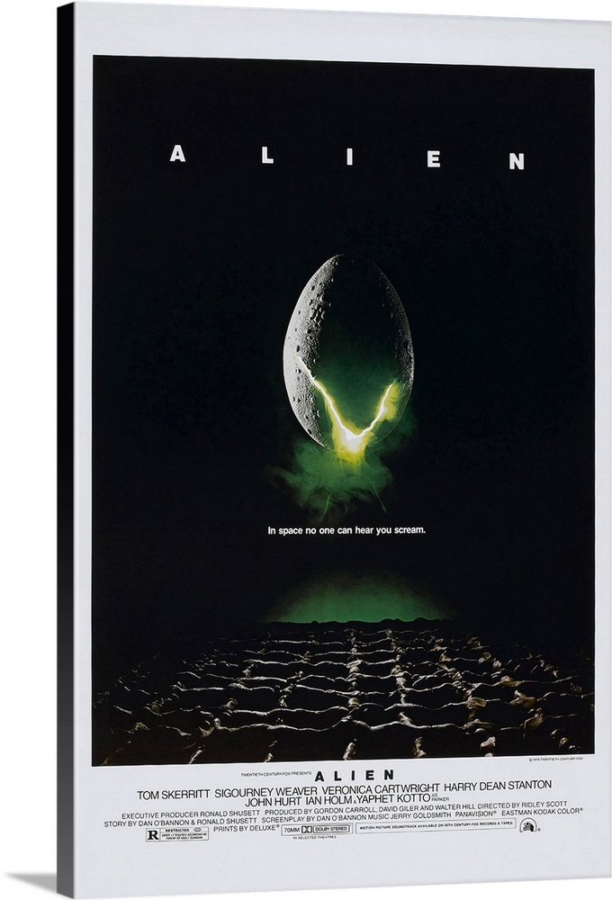 Large Solid-Faced Canvas Print Wall Art Print 20 x 30 entitled Alien (1979) Solid-Faced Canvas Print entitled Alien 1979.  Big vertical movie advertisement for the 1979 film, Alien, starring Tom Skerritt and Sigourney Weaver.  A large egg is cracking open to reveal a neon green light from within, shadowed by the darkness that surrounds it.  Multiple sizes available.  Primary colors within this image include Dark Yellow, Black, Gray, Silver.  Made in the USA.  All products come with a 365 day workmanship guarantee.  Archival-quality UV-resistant inks.  Canvas depth is 1.25 and includes a finished backing with pre-installed hanging hardware.  Archival inks prevent fading and preserve as much fine detail as possible with no over-saturation or color shifting.
