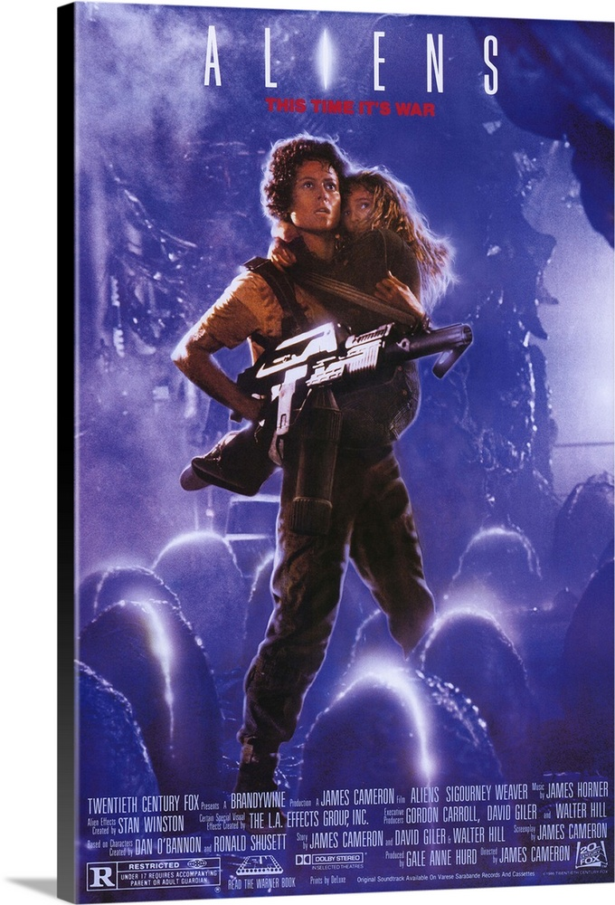 Large Solid-Faced Canvas Print Wall Art Print 20 x 30 entitled Aliens (1986) Solid-Faced Canvas Print entitled Aliens 1986.  The bitch is back, some 50 years later. Popular sequel to Alien amounts to non-stop, ravaging combat in space. Contact with a colony on another planet has mysteriously stopped. Fresh from deep space sleep, Ripley and a slew of pulsar-equipped Marines return to confront the mother alien at her nest, which is also inhabited by a whole bunch of the nasty critters spewing for a fight. Somethings gotta give, and the Oscar-winning special effects are especially inventive and messy in the alien demise department. Dimension acting biz talk is given to our hero Ripley, as she discovers maternal instincts lurking within her space suit while looking after a young girl, the lone survivor of the colony. Tension-filled gore blaster. Followed by Aliens 3.  Multiple sizes available.  Primary colors within this image include Dark Blue, Pink, Sky Blue, Dark Gray.  Made in the USA.  Satisfaction guaranteed.  Inks used are latex-based and designed to last.  Featuring a proprietary design, our canvases produce the tightest corners without any bubbles, ripples, or bumps and will not warp or sag over time.  Canvas is handcrafted and made-to-order in the United States using high quality artist-grade canvas.