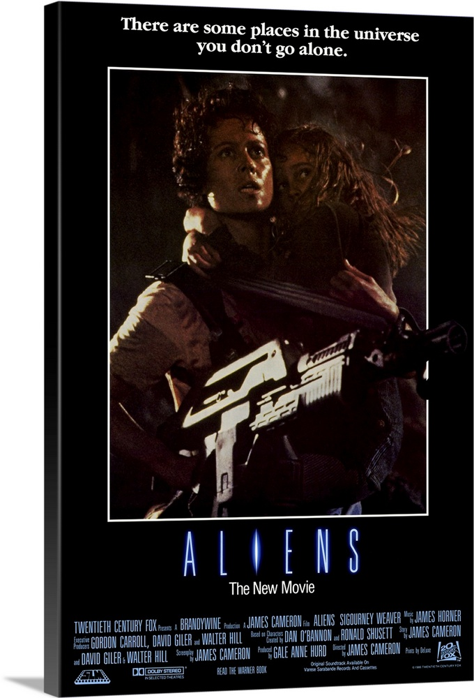 Large Solid-Faced Canvas Print Wall Art Print 20 x 30 entitled Aliens (1986) Solid-Faced Canvas Print entitled Aliens 1986.  The bitch is back, some 50 years later. Popular sequel to Alien amounts to non-stop, ravaging combat in space. Contact with a colony on another planet has mysteriously stopped. Fresh from deep space sleep, Ripley and a slew of pulsar-equipped Marines return to confront the mother alien at her nest, which is also inhabited by a whole bunch of the nasty critters spewing for a fight. Somethings gotta give, and the Oscar-winning special effects are especially inventive and messy in the alien demise department. Dimension acting biz talk is given to our hero Ripley, as she discovers maternal instincts lurking within her space suit while looking after a young girl, the lone survivor of the colony. Tension-filled gore blaster. Followed by Aliens 3.  Multiple sizes available.  Primary colors within this image include Dark Blue, Black, Gray, Silver.  Made in USA.  All products come with a 365 day workmanship guarantee.  Inks used are latex-based and designed to last.  Canvas is handcrafted and made-to-order in the United States using high quality artist-grade canvas.  Canvas depth is 1.25 and includes a finished backing with pre-installed hanging hardware.