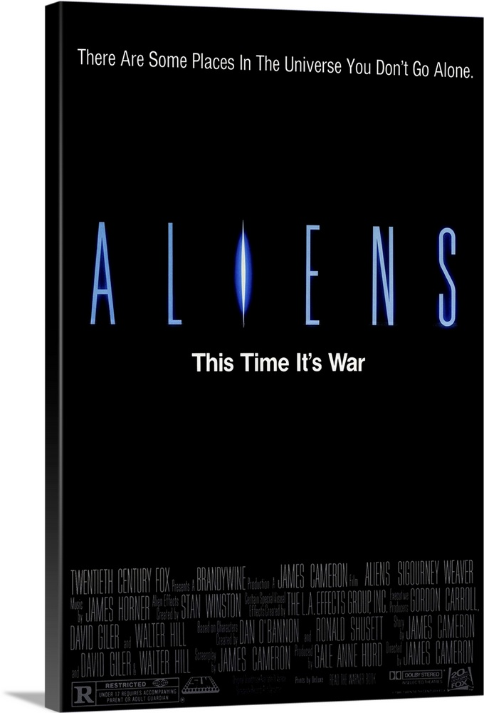 Large Solid-Faced Canvas Print Wall Art Print 20 x 30 entitled Aliens (1986) Solid-Faced Canvas Print entitled Aliens 1986.  The bitch is back, some 50 years later. Popular sequel to Alien amounts to non-stop, ravaging combat in space. Contact with a colony on another planet has mysteriously stopped. Fresh from deep space sleep, Ripley and a slew of pulsar-equipped Marines return to confront the mother alien at her nest, which is also inhabited by a whole bunch of the nasty critters spewing for a fight. Somethings gotta give, and the Oscar-winning special effects are especially inventive and messy in the alien demise department. Dimension acting biz talk is given to our hero Ripley, as she discovers maternal instincts lurking within her space suit while looking after a young girl, the lone survivor of the colony. Tension-filled gore blaster. Followed by Aliens 3.  Multiple sizes available.  Primary colors within this image include Dark Blue, Sky Blue, Black, White.  Made in USA.  Satisfaction guaranteed.  Archival-quality UV-resistant inks.  Archival inks prevent fading and preserve as much fine detail as possible with no over-saturation or color shifting.  Canvas depth is 1.25 and includes a finished backing with pre-installed hanging hardware.