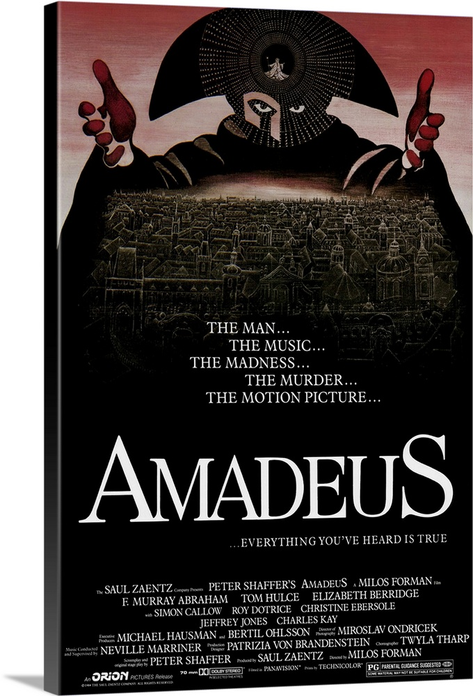 Large Solid-Faced Canvas Print Wall Art Print 20 x 30 entitled Amadeus (1984) Solid-Faced Canvas Print entitled Amadeus 1984.  Entertaining adaptation by Shaffer of his play about the intense rivalry between 18th century composers Antonio Salieri and Wolfgang Amadeus Mozart. Abrahams Salieri is a man who desires greatness but is tortured by envy and sorrow. His worst attacks of angst occur when he comes into contact with Hulces Mozart, an immature, boorish genius who, despite his gifts, remains unaffected and delighted by the beauty he creates while irking the hell out of everyone around him. Terrific period piece filmed on location in Prague excellent musical score, beautiful sets, nifty billowy costumes, and realistic American accents for the 18th century Europeans.  Multiple sizes available.  Primary colors within this image include Dark Red, Black, White.  Made in USA.  All products come with a 365 day workmanship guarantee.  Inks used are latex-based and designed to last.  Archival inks prevent fading and preserve as much fine detail as possible with no over-saturation or color shifting.  Featuring a proprietary design, our canvases produce the tightest corners without any bubbles, ripples, or bumps and will not warp or sag over time.
