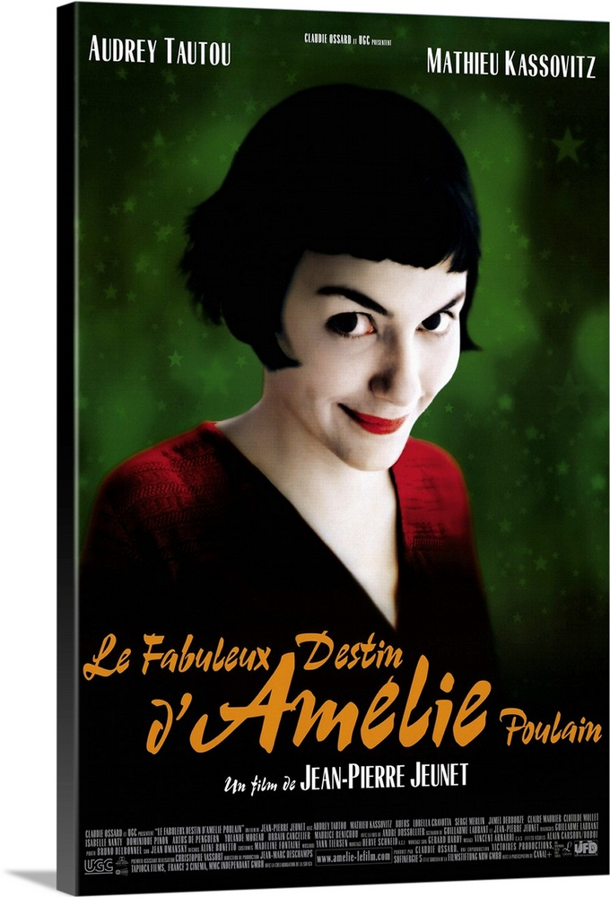 Large Solid-Faced Canvas Print Wall Art Print 20 x 30 entitled Amelie (2001) Solid-Faced Canvas Print entitled Amelie 2001.  Paris waitress Amelie Tautou has led a solitary, but not wholly unpleasant, existence. When she finds a box of childhood treasures behind a wall in her apartment, she sets out to return them to their original owner. Accomplishing this, she begins to secretly intervene in the lives of neighbors and coworkers, helping some find romance, others retribution for past wrongs. When her missions bring her into contact with a quirky local Kassovitz, she begins a roundabout courtship involving a treasure hunt instead of approaching him directly. Director Jeunet leaves intact his stunning, and very stylized visual talents, but marshals them in service of a fresh, lighthearted comedy, in contrast to his previous, downcast work. Tautout has no problem carrying the movie and has the look of a budding major star.  Multiple sizes available.  Primary colors within this image include Orange, Dark Red, Black, White.  Made in the USA.  Satisfaction guaranteed.  Inks used are latex-based and designed to last.  Archival inks prevent fading and preserve as much fine detail as possible with no over-saturation or color shifting.  Canvas is handcrafted and made-to-order in the United States using high quality artist-grade canvas.