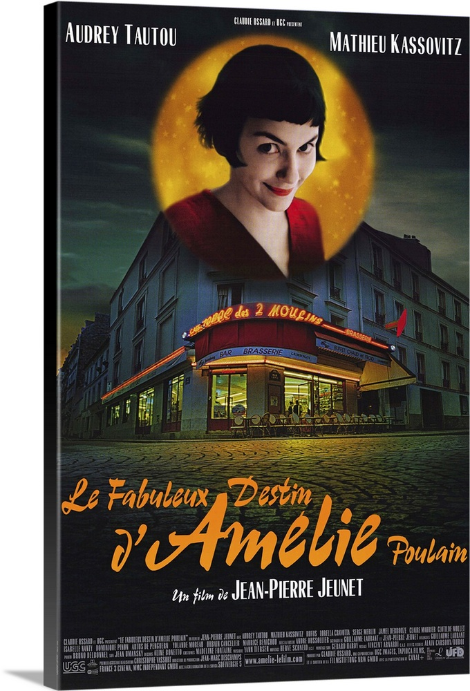 Large Solid-Faced Canvas Print Wall Art Print 20 x 30 entitled Amelie (2001) Solid-Faced Canvas Print entitled Amelie 2001.  Paris waitress Amelie Tautou has led a solitary, but not wholly unpleasant, existence. When she finds a box of childhood treasures behind a wall in her apartment, she sets out to return them to their original owner. Accomplishing this, she begins to secretly intervene in the lives of neighbors and coworkers, helping some find romance, others retribution for past wrongs. When her missions bring her into contact with a quirky local Kassovitz, she begins a roundabout courtship involving a treasure hunt instead of approaching him directly. Director Jeunet leaves intact his stunning, and very stylized visual talents, but marshals them in service of a fresh, lighthearted comedy, in contrast to his previous, downcast work. Tautout has no problem carrying the movie and has the look of a budding major star.  Multiple sizes available.  Primary colors within this image include Orange, Dark Red, Black, Light Gray.  Made in the USA.  All products come with a 365 day workmanship guarantee.  Inks used are latex-based and designed to last.  Canvas depth is 1.25 and includes a finished backing with pre-installed hanging hardware.  Archival inks prevent fading and preserve as much fine detail as possible with no over-saturation or color shifting.
