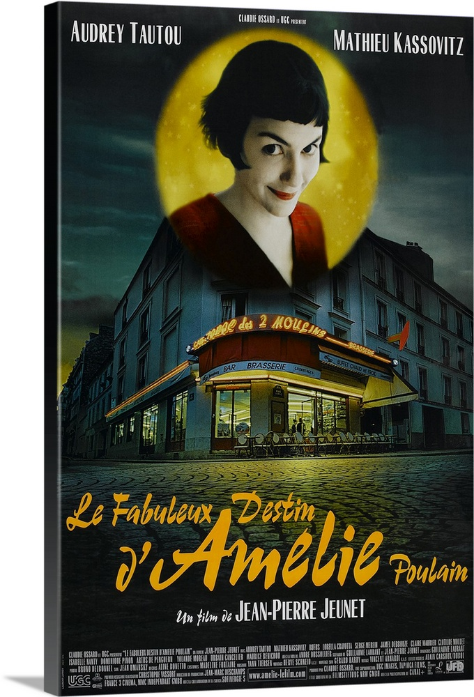 Large Solid-Faced Canvas Print Wall Art Print 20 x 30 entitled Amelie (2001) Solid-Faced Canvas Print entitled Amelie 2001.  Paris waitress Amelie Tautou has led a solitary, but not wholly unpleasant, existence. When she finds a box of childhood treasures behind a wall in her apartment, she sets out to return them to their original owner. Accomplishing this, she begins to secretly intervene in the lives of neighbors and coworkers, helping some find romance, others retribution for past wrongs. When her missions bring her into contact with a quirky local Kassovitz, she begins a roundabout courtship involving a treasure hunt instead of approaching him directly. Director Jeunet leaves intact his stunning, and very stylized visual talents, but marshals them in service of a fresh, lighthearted comedy, in contrast to his previous, downcast work. Tautout has no problem carrying the movie and has the look of a budding major star.  Multiple sizes available.  Primary colors within this image include Orange, Dark Red, Light Gray, Dark Forest Green.  Made in USA.  Satisfaction guaranteed.  Archival-quality UV-resistant inks.  Canvas is handcrafted and made-to-order in the United States using high quality artist-grade canvas.  Featuring a proprietary design, our canvases produce the tightest corners without any bubbles, ripples, or bumps and will not warp or sag over time.