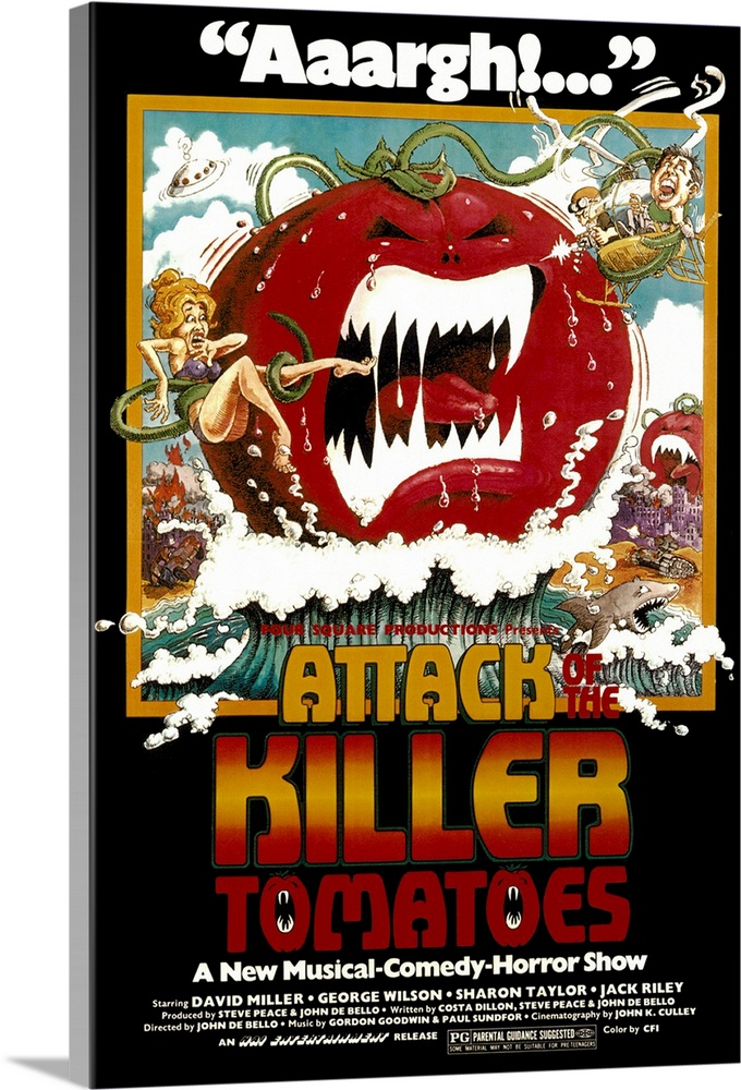 Large Solid-Faced Canvas Print Wall Art Print 20 x 30 entitled Attack of the Killer Tomatoes (1979) Solid-Faced Canvas Print entitled Attack of the Killer Tomatoes 1979.  Candidate for worst film ever made, deliberate category. Horror spoof that defined low budget stars several thousand ordinary tomatoes that suddenly turn savage and begin attacking people. No sci-fi cliche remains untouched in this dumb parody. A few musical numbers are performed in lieu of an actual plot. Followed by Return of the Killer Tomatoes. Originally released at 87 minutes.  Multiple sizes available.  Primary colors within this image include Orange, Dark Red, Black, White.  Made in the USA.  All products come with a 365 day workmanship guarantee.  Archival-quality UV-resistant inks.  Canvas depth is 1.25 and includes a finished backing with pre-installed hanging hardware.  Canvas is handcrafted and made-to-order in the United States using high quality artist-grade canvas.