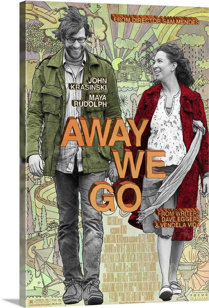 Large Gallery-Wrapped Canvas Wall Art Print 16 x 24 entitled Away We Go (2009) Gallery-Wrapped Canvas entitled Away We Go 2009.  A couple who is expecting their first child travel around the U.S. in order to find a perfect place to start their family. Along the way they have misadventures and find fresh connections with an assortment of relatives and old friends who just might help them discover home on their own terms for the first time.  Multiple sizes available.  Primary colors within this image include Orange Peach Black Gray.  Made in USA.  All products come with a 365 day workmanship guarantee.  Archival-quality UV-resistant inks.  Canvases have a UVB protection built in to protect against fading and moisture and are designed to last for over 100 years.  Canvases are stretched across a 1.5 inch thick wooden frame with easy-to-mount hanging hardware.
