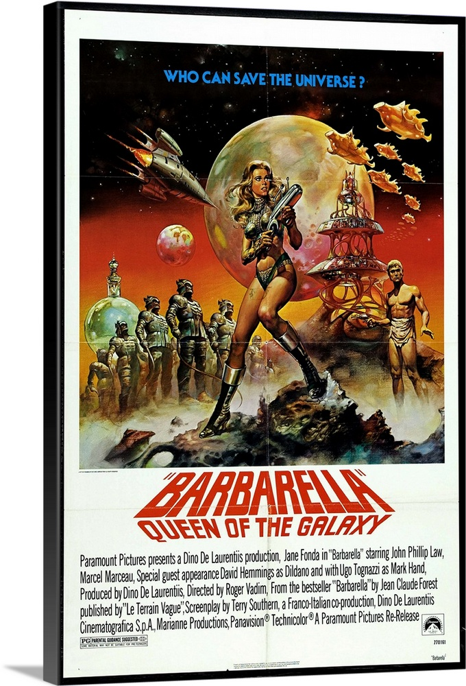 Large Solid-Faced Canvas Print Wall Art Print 20 x 30 entitled Barbarella 1968 Solid-Faced Canvas Print entitled Barbarella 1968.  Based on the popular French sci-fi comic strip drawn by Jean-Claude Forest, this cult classic details the bizarre adventures of a space nymphette Fonda encountering fantastic creatures and super beings. Youll see sides of Fonda you never saw before not even in the workout videos. Notorious in its day rather silly, dated camp now. Dont miss the elbow-sex scene. Terry Southern contributed to the script.  Multiple sizes available.  Primary colors within this image include Red, Peach, Black, White.  Made in USA.  Satisfaction guaranteed.  Archival-quality UV-resistant inks.  Canvas depth is 1.25 and includes a finished backing with pre-installed hanging hardware.  Archival inks prevent fading and preserve as much fine detail as possible with no over-saturation or color shifting.