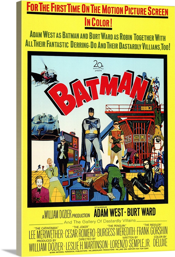 Large Gallery-Wrapped Canvas Wall Art Print 16 x 24 entitled Batman (1966) Gallery-Wrapped Canvas entitled Batman 1966.  Holy television camp, Batman Will the caped crusader win the Bat-tle against the combined forces of the Joker, the Riddler, the Penguin, and Catwoman Will Batman and Robin save the United World Security Council from dehydration Will the Bat genius ever figure out that Russian journalist Miss Kitka and Catwoman are one and the same Biff Thwack Socko Not to be confused with the Michael Keaton version of the Dark Knight, this is the pot-bellied Adam West Batman, teeming with Bat satire and made especially for the big screen.  Multiple sizes available.  Primary colors within this image include Red, Brown, Light Yellow, Black.  Made in the USA.  All products come with a 365 day workmanship guarantee.  Inks used are latex-based and designed to last.  Canvas is a 65 polyester, 35 cotton base, with two acrylic latex primer basecoats and a semi-gloss inkjet receptive topcoat.  Canvases have a UVB protection built in to protect against fading and moisture and are designed to last for over 100 years.