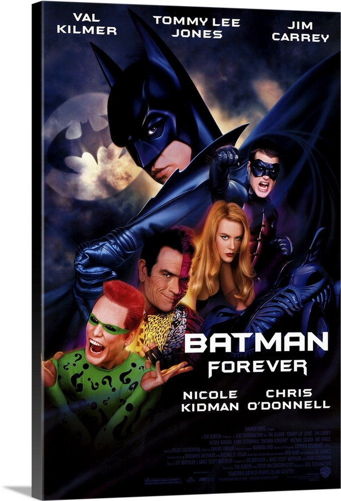Large Solid-Faced Canvas Print Wall Art Print 20 x 30 entitled Batman Forever (1995) Solid-Faced Canvas Print entitled Batman Forever 1995.  Holy franchise, Batman Third-time actioner considerably lightens up Tim Burtons dark vision for a more family-oriented Caped Crusader now played by Kilmer, who fills out lip requirement nicely. The Boy Wonder also makes a first-time appearance in the bulked-up form of ODonnell, a street-smart Robin with revenge on his mind. Naturally, the villains still steal the show in the personas of maniacal Carrey the Riddler and the sartorially splendid Jones as Harvey Two-Face Dent. Rounding out this charismatic cast is Kidmans slinky psychologist Chase Meridian, whos eager to find the man inside the bat and who can blame her. Lots of splashy toys for the boys and awe-inspiring sets to show you where the money went. A Gotham City gas that did 53 million at its opening weekend boxoffice--breaking the Jurassic Park record, testimony to the power of aggressive marketing.  Multiple sizes available.  Primary colors within this image include Dark Red, Dark Blue, Black, White.  Made in the USA.  Satisfaction guaranteed.  Archival-quality UV-resistant inks.  Featuring a proprietary design, our canvases produce the tightest corners without any bubbles, ripples, or bumps and will not warp or sag over time.  Canvas depth is 1.25 and includes a finished backing with pre-installed hanging hardware.