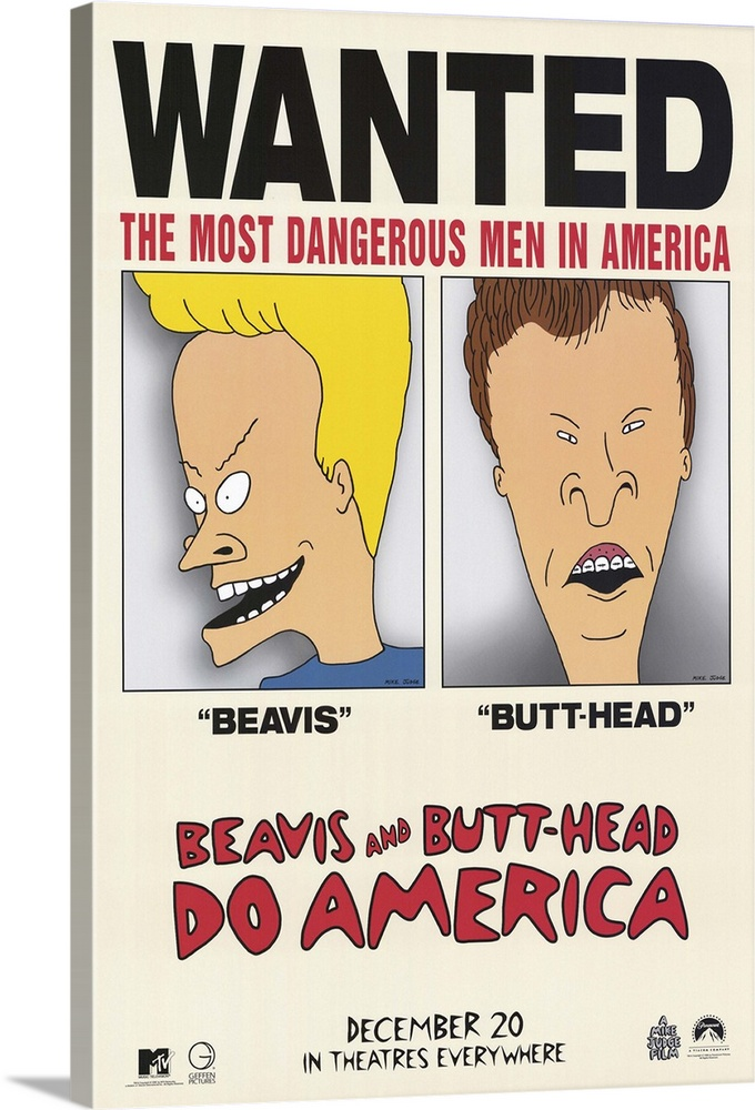 Large Solid-Faced Canvas Print Wall Art Print 20 x 30 entitled Beavis and Butthead Do America (1996) Solid-Faced Canvas Print entitled Beavis and Butthead Do America 1996.  Moronic MTV metalheads go on the road in search of their stolen TV and are somehow mistaken for criminal masterminds. Okay, enough about plot. If youre thinking of renting this one, you dont care about that stuff anyway. Directorwritervoice of BB Judge is smart enough not to change our heroes just because theyre on a bigger screen. Theyre still stupid, obsessed with chicks, Yeah Chicks are cool and blissfully unaware of whats happening around them. The opening sequence, a parody of 70s cop shows, is hilarious and cool. For those who like the show, and for people who just dont admit that they do, the boys movie debut he said but doesnt suck.  Multiple sizes available.  Primary colors within this image include Pink, Light Yellow, White, Dark Forest Green.  Made in the USA.  All products come with a 365 day workmanship guarantee.  Inks used are latex-based and designed to last.  Canvas is handcrafted and made-to-order in the United States using high quality artist-grade canvas.  Archival inks prevent fading and preserve as much fine detail as possible with no over-saturation or color shifting.