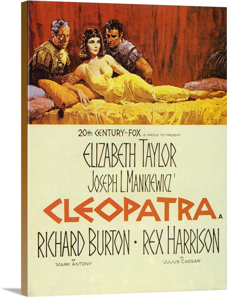 Large Solid-Faced Canvas Print Wall Art Print 30 x 40 entitled Cleopatra (1964) Solid-Faced Canvas Print entitled Cleopatra 1964.  And we thought DeMilles version was extravagant. After the death of Julius Caesar, Cleopatra, Queen of Egypt, becomes infatuated with Mark Antony. Costly four-hour epic functions like a blimp-sized, multi-colored sleeping tablet. Historical characters are utterly dwarfed by the films massive scope, and audiences are benumbed by a spectacle of crowd scenes and opulent, grotesque interiors. Taylor looks and often acts like a sex bomb ruler, while Harrison has some notion of Caesars majesty. Burton, however, is hopelessly wooden. Hard to believe this came from director Mankiewicz.  Multiple sizes available.  Primary colors within this image include Dark Red, Brown, Light Yellow, White.  Made in USA.  All products come with a 365 day workmanship guarantee.  Archival-quality UV-resistant inks.  Featuring a proprietary design, our canvases produce the tightest corners without any bubbles, ripples, or bumps and will not warp or sag over time.  Archival inks prevent fading and preserve as much fine detail as possible with no over-saturation or color shifting.