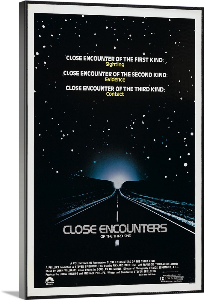 Large Solid-Faced Canvas Print Wall Art Print 20 x 30 entitled Close Encounters of the Third Kind (1977) Solid-Faced Canvas Print entitled Close Encounters of the Third Kind 1977.  Middle-American strangers become involved in the attempts of benevolent aliens to contact earthlings. Despite the sometimes mundane nature of the characters, this Spielberg epic is a stirring achievement. Studded with classic sequences the ending is an exhilarating experience of special effects and peace-on-earth feelings. Dreyfuss and Dillon excel as friends who are at once bewildered and obsessed by the alien presence, and French filmmaker Truffaut is also strong as the stern, ultimately kind scientist.  Multiple sizes available.  Primary colors within this image include Black, Light Gray, White, Gray Blue.  Made in the USA.  Satisfaction guaranteed.  Inks used are latex-based and designed to last.  Canvas is handcrafted and made-to-order in the United States using high quality artist-grade canvas.  Canvas depth is 1.25 and includes a finished backing with pre-installed hanging hardware.