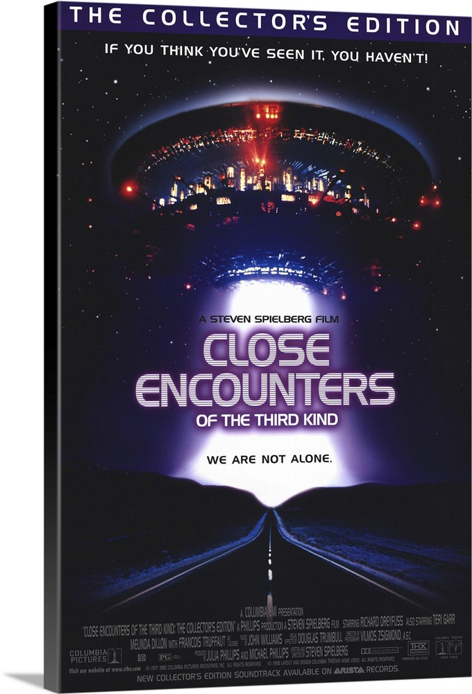 Large Solid-Faced Canvas Print Wall Art Print 20 x 30 entitled Close Encounters of the Third Kind (1977) Solid-Faced Canvas Print entitled Close Encounters of the Third Kind 1977.  Middle-American strangers become involved in the attempts of benevolent aliens to contact earthlings. Despite the sometimes mundane nature of the characters, this Spielberg epic is a stirring achievement. Studded with classic sequences the ending is an exhilarating experience of special effects and peace-on-earth feelings. Dreyfuss and Dillon excel as friends who are at once bewildered and obsessed by the alien presence, and French filmmaker Truffaut is also strong as the stern, ultimately kind scientist.  Multiple sizes available.  Primary colors within this image include Dark Blue, Dark Gray, White, Gray Blue.  Made in USA.  All products come with a 365 day workmanship guarantee.  Inks used are latex-based and designed to last.  Archival inks prevent fading and preserve as much fine detail as possible with no over-saturation or color shifting.  Featuring a proprietary design, our canvases produce the tightest corners without any bubbles, ripples, or bumps and will not warp or sag over time.