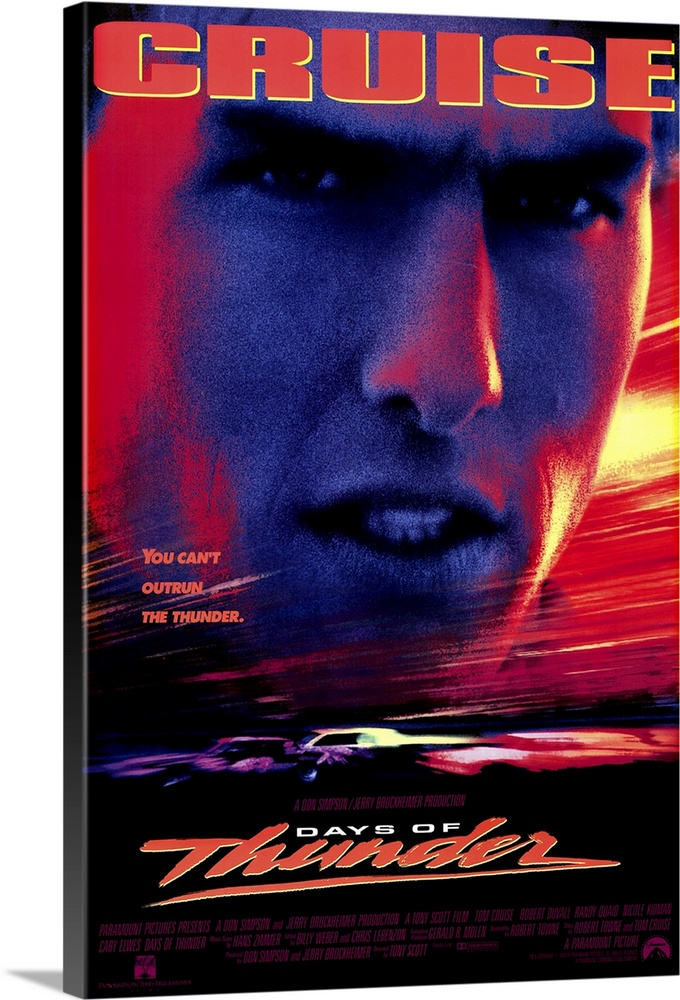 Large Gallery-Wrapped Canvas Wall Art Print 16 x 24 entitled Days of Thunder (1990) Gallery-Wrapped Canvas entitled Days of Thunder 1990.  Top Gun in race cars Cruise follows the same formula he has followed for several years now with the notable exception of Born on the Fourth of July. Cruise and Towne co-wrote the screenplay concerning a young kid bursting with talent and raw energy who must learn to deal with his mentor his girlfriend and eventually the bad guy. First film that featured cameras that were actually on the race cars. If you like Cruise or race cars then this is the movie for you.  Multiple sizes available.  Primary colors within this image include Pink Peach Light Yellow Black.  Made in the USA.  All products come with a 365 day workmanship guarantee.  Inks used are latex-based and designed to last.  Canvas is designed to prevent fading.  Canvas is acid-free and 20 millimeters thick.