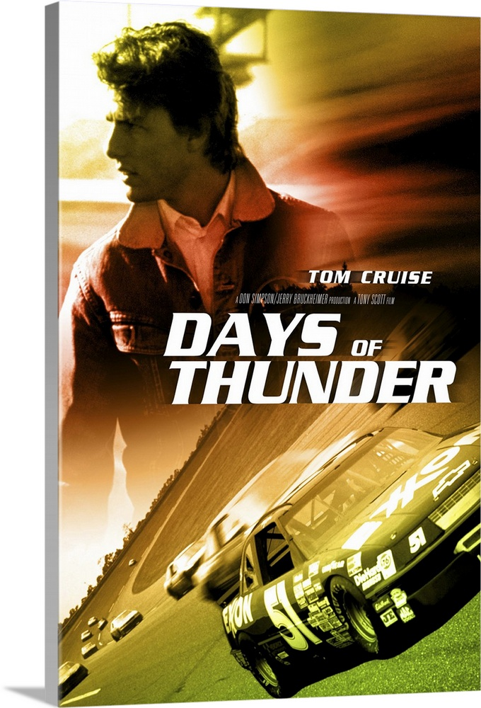Large Gallery-Wrapped Canvas Wall Art Print 17 x 24 entitled Days of Thunder (1990) Gallery-Wrapped Canvas entitled Days of Thunder 1990.  Top Gun in race cars Cruise follows the same formula he has followed for several years now with the notable exception of Born on the Fourth of July. Cruise and Towne co-wrote the screenplay concerning a young kid bursting with talent and raw energy who must learn to deal with his mentor his girlfriend and eventually the bad guy. First film that featured cameras that were actually on the race cars. If you like Cruise or race cars then this is the movie for you.  Multiple sizes available.  Primary colors within this image include Dark Red Brown Black White.  Made in the USA.  All products come with a 365 day workmanship guarantee.  Inks used are latex-based and designed to last.  Canvas is acid-free and 20 millimeters thick.  Museum-quality artist-grade canvas mounted on sturdy wooden stretcher bars 1.5 thick.  Comes ready to hang.