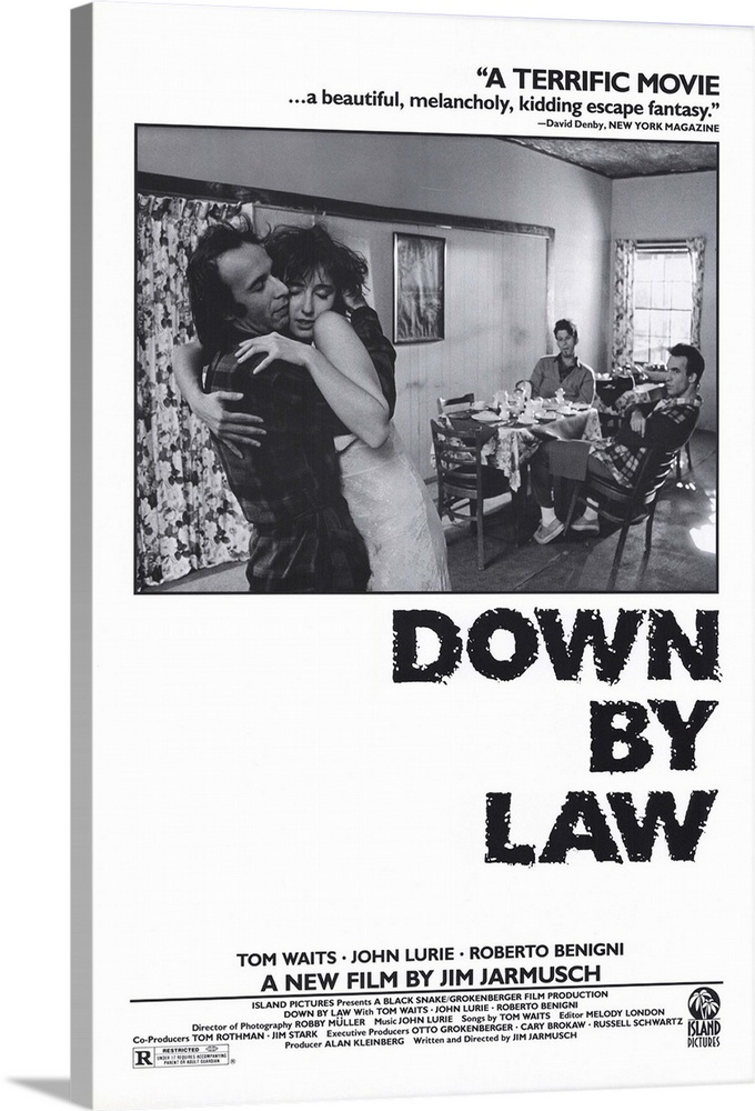 Large Solid-Faced Canvas Print Wall Art Print 24 x 36 entitled Down by Law (1986) Solid-Faced Canvas Print entitled Down by Law 1986.  In Jarmuschs follow-up to his successful Stranger than Paradise, he introduces us to three men a pimp, an out-of-work disc jockey, and an Italian tourist. When the three break out of prison, they wander through the Louisiana swampland with some regrets about their new-found freedom. Slow-moving at times, beautifully shot throughout. Poignant and hilarious, the film is true to Jarmusch form some will love the films offbeat flair, and others will find it bothersome.  Multiple sizes available.  Primary colors within this image include Dark Gray, White.  Made in the USA.  Satisfaction guaranteed.  Archival-quality UV-resistant inks.  Featuring a proprietary design, our canvases produce the tightest corners without any bubbles, ripples, or bumps and will not warp or sag over time.  Archival inks prevent fading and preserve as much fine detail as possible with no over-saturation or color shifting.