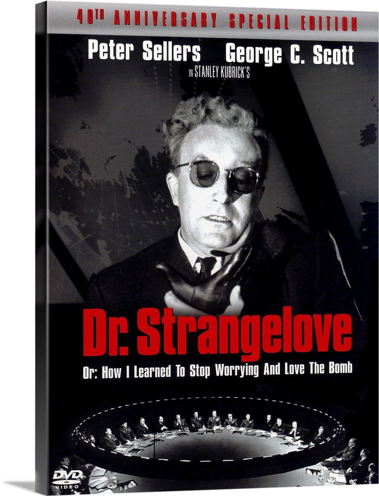 Large Solid-Faced Canvas Print Wall Art Print 30 x 40 entitled Dr. Strangelove or: How I Learned to Stop Worrying and Love... Solid-Faced Canvas Print entitled Dr. Strangelove or How I Learned to Stop Worrying and Love the Bomb 1964.  Multiple sizes available.  Primary colors within this image include Red, Black, Light Gray.  Made in USA.  Satisfaction guaranteed.  Inks used are latex-based and designed to last.  Canvas depth is 1.25 and includes a finished backing with pre-installed hanging hardware.  Archival inks prevent fading and preserve as much fine detail as possible with no over-saturation or color shifting.