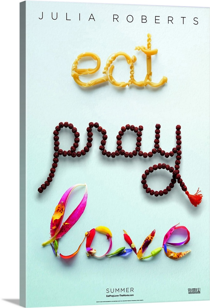 Large Solid-Faced Canvas Print Wall Art Print 20 x 30 entitled Eat, Pray, Love (2010) Solid-Faced Canvas Print entitled Eat, Pray, Love 2010.  Multiple sizes available.  Primary colors within this image include Blue, Dark Red, Black, White.  Made in USA.  Satisfaction guaranteed.  Inks used are latex-based and designed to last.  Archival inks prevent fading and preserve as much fine detail as possible with no over-saturation or color shifting.  Featuring a proprietary design, our canvases produce the tightest corners without any bubbles, ripples, or bumps and will not warp or sag over time.
