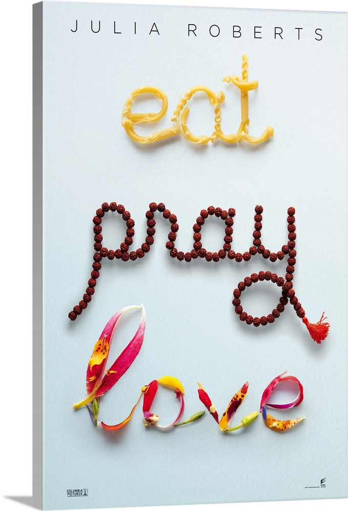 Large Solid-Faced Canvas Print Wall Art Print 20 x 30 entitled Eat, Pray, Love (2010) Solid-Faced Canvas Print entitled Eat, Pray, Love 2010.  Multiple sizes available.  Primary colors within this image include Dark Red, Light Yellow, Black, White.  Made in USA.  Satisfaction guaranteed.  Archival-quality UV-resistant inks.  Archival inks prevent fading and preserve as much fine detail as possible with no over-saturation or color shifting.  Canvas is handcrafted and made-to-order in the United States using high quality artist-grade canvas.