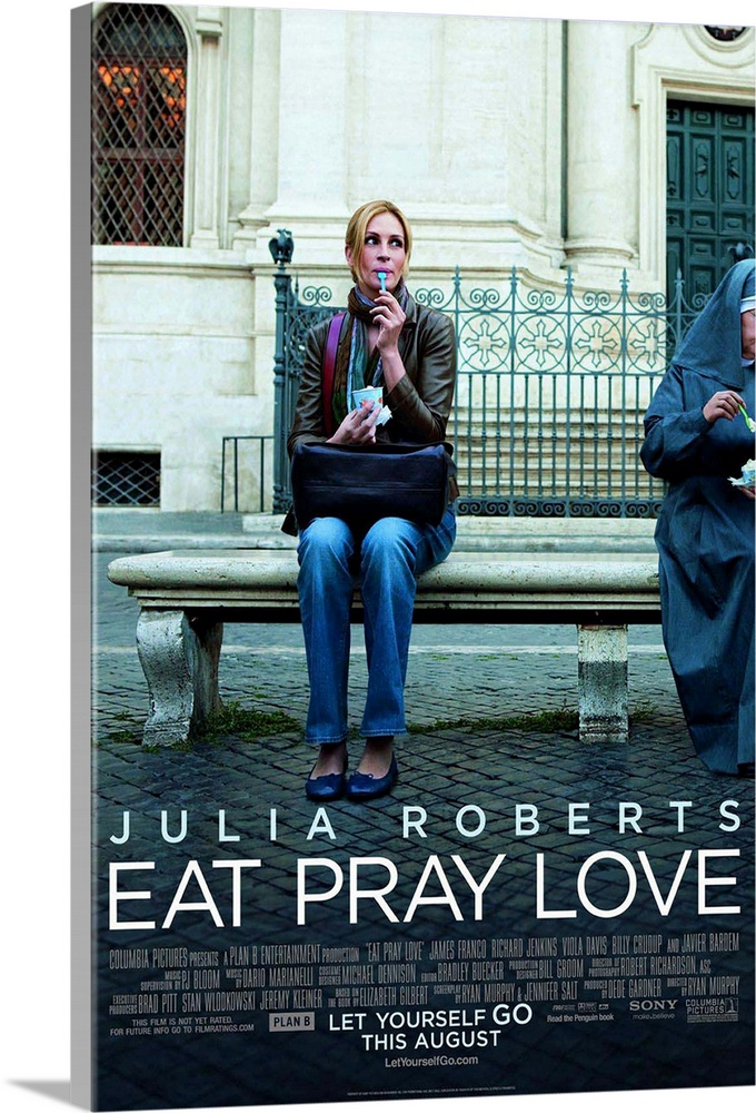 Large Solid-Faced Canvas Print Wall Art Print 20 x 30 entitled Eat, Pray, Love - Movie Poster Solid-Faced Canvas Print entitled Eat, Pray, Love - Movie Poster.  Multiple sizes available.  Primary colors within this image include Black, Gray, White, Royal Blue.  Made in the USA.  All products come with a 365 day workmanship guarantee.  Archival-quality UV-resistant inks.  Canvas depth is 1.25 and includes a finished backing with pre-installed hanging hardware.  Canvas is handcrafted and made-to-order in the United States using high quality artist-grade canvas.