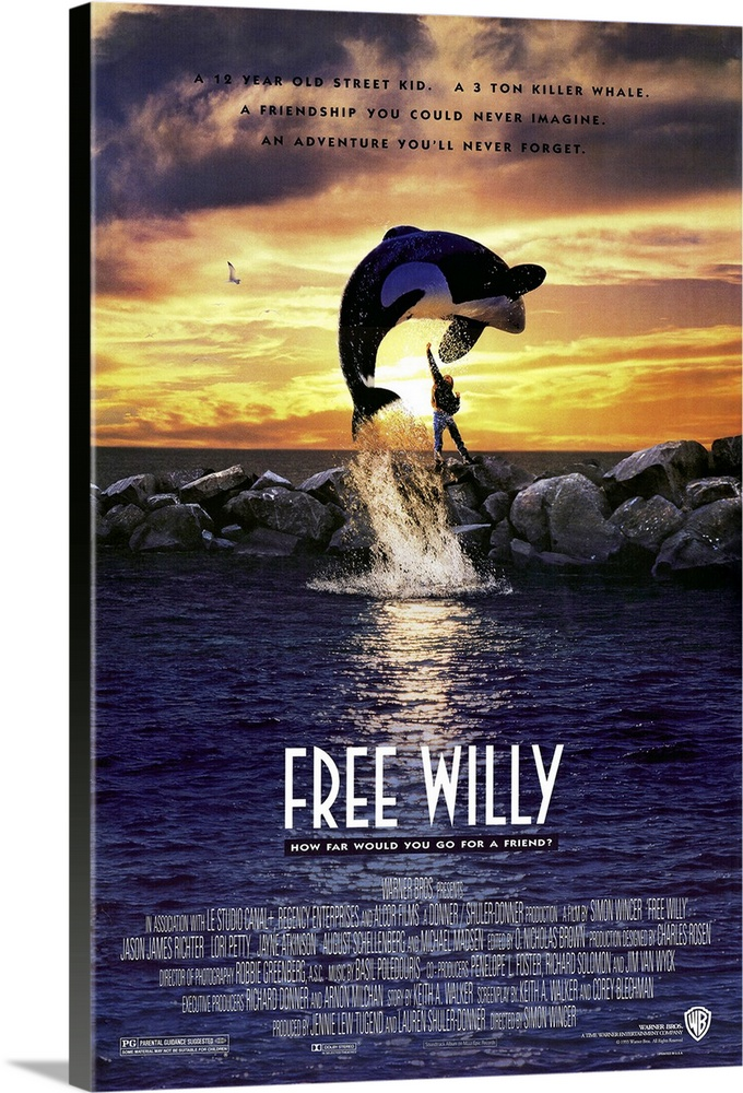 Large Solid-Faced Canvas Print Wall Art Print 20 x 30 entitled Free Willy (1992) Solid-Faced Canvas Print entitled Free Willy 1992.  Sentimental story about a 12-year-old runaway Richter who befriends a whale. Should appeal to children for its heartwarming story and delightful sea acrobatics. An electronically operated stand-in whale was used for far-off shots a domesticated performing whale named Keiko for the close-ups. Director Wincer was known to grumble about the temperamental Keiko during shooting. Suggested viewing for students of animal behavior. Proof that family films can make money, Free Willy placed tenth for total boxoffice receipts in 1993.  Multiple sizes available.  Primary colors within this image include Light Yellow, Black, White, Muted Blue.  Made in USA.  Satisfaction guaranteed.  Inks used are latex-based and designed to last.  Canvas depth is 1.25 and includes a finished backing with pre-installed hanging hardware.  Canvas is handcrafted and made-to-order in the United States using high quality artist-grade canvas.