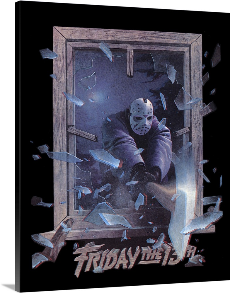 Large Solid-Faced Canvas Print Wall Art Print 24 x 30 entitled Friday the 13th Part 3 (1982) Solid-Faced Canvas Print entitled Friday the 13th Part 3 1982.  Yet another group of naive counselors at Camp Crystal Lake fall victim to the maniacal Jason. The 3-D effects actually helped lessen the gory effects, but this is still awful. Followed by more disgusting sequels.  Multiple sizes available.  Primary colors within this image include Black, Silver, Muted Blue.  Made in the USA.  All products come with a 365 day workmanship guarantee.  Inks used are latex-based and designed to last.  Canvas is handcrafted and made-to-order in the United States using high quality artist-grade canvas.  Archival inks prevent fading and preserve as much fine detail as possible with no over-saturation or color shifting.