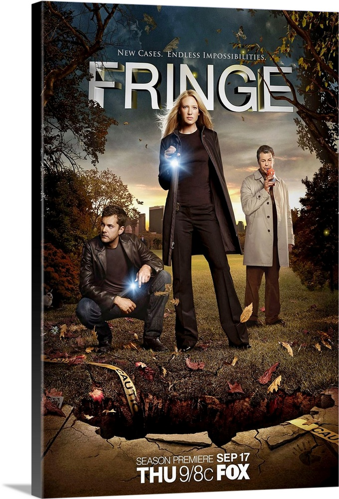 Large Gallery-Wrapped Canvas Wall Art Print 20 x 30 entitled Fringe (TV) (2008) Gallery-Wrapped Canvas entitled Fringe TV 2008.  A television drama centered around a female FBI agent who is forced to work with an institutionalized scientist in order to rationalize a brewing storm of unexplained phenomena.  Multiple sizes available.  Primary colors within this image include Peach, Black, Gray.  Made in the USA.  Satisfaction guaranteed.  Inks used are latex-based and designed to last.  Canvas is a 65 polyester, 35 cotton base, with two acrylic latex primer basecoats and a semi-gloss inkjet receptive topcoat.  Canvas is acid-free and 20 millimeters thick.