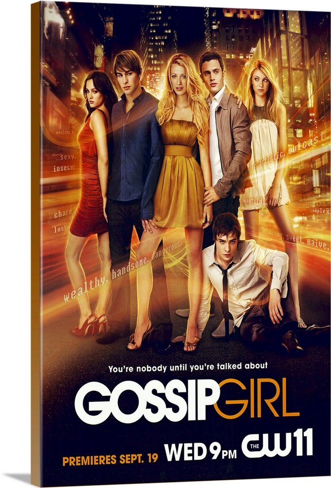 Large Gallery-Wrapped Canvas Wall Art Print 16 x 24 entitled Gossip Girl (TV) (2007) Gallery-Wrapped Canvas entitled Gossip Girl TV 2007.  Welcome to New Yorks Upper East side where the wealthy and connected mingle at benefits and try to deal with their always dramatic love lives not to mention picking colleges. Blair Waldorf is the so-called toast of adolescence in her world she and her friends Kati Farkas and Isabel Coates go to a prep school and fancy parties with their rich parents. Blair is envied by her adversaries because she is thought to have the perfect life not just because of her gorgeous boyfriend Nate Archibald but because shes also planning on getting into her dream collegeYale. With everyone worried about collegeor procrastinating on worrying which everyone seems to be doing and senior year dragging along her seemingly perfect life is interrupted by her ex-best friend the beautiful Serena van der Woodsen coming back into town after getting kicked out of boarding school. Serena comes back into her life and into the eyes of Blairs boy friend. When everything Blair knows starts to fall apart everyone will realize that her life is far from perfect. Will life in the the Upper East Side redeem itself of what its really supposed to be Or will the false facade reveal that the rich have the same problems as the not so rich Jenny and Dan Humphrey if not more. And just maybe Jenny and Dan are all the more happy with their simple not so expectant lives.  Multiple sizes available.  Primary colors within this image include Orange Black White.  Made in the USA.  Satisfaction guaranteed.  Inks used are latex-based and designed to last.  Canvas is designed to prevent fading.  Canvas is acid-free and 20 millimeters thick.