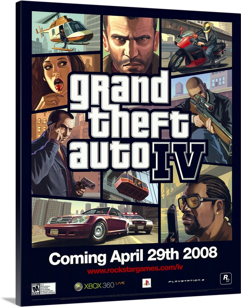 Large Solid-Faced Canvas Print Wall Art Print 36 x 45 entitled Grand Theft Auto IV (2008) Solid-Faced Canvas Print entitled Grand Theft Auto IV 2008.  Welcome to Liberty City. A place where corrpution ferments and freedom is dead.    You are Nikolai Bellic, Niko for short. Your cousin, Roman, has told you many things about his lavish lifestyle in America. His numerous women, cars, and hottubs to accompany his big house have been the tales of recent eMails sent by Roman. You arrive by boat, meet Roman and take a trip to his place....Unfortunatly, his place is anything but lavish.    The only money Roman has was money borrowed from the wrong side of the fence.    The only women Roman has are the ones that took his taxi that morning.    and the only hottub Roman has, in the boiling hot water in his sink.    Angry, but noticing that Roman is in hot water, Niko sets out on a crusade to help Roman in his crisis, pay his debts, and do some pretty nasty things while hes at it in this installment of the infamous seires.  Multiple sizes available.  Primary colors within this image include Peach, Black, White, Dark Navy Blue.  Made in the USA.  All products come with a 365 day workmanship guarantee.  Inks used are latex-based and designed to last.  Canvas is handcrafted and made-to-order in the United States using high quality artist-grade canvas.  Featuring a proprietary design, our canvases produce the tightest corners without any bubbles, ripples, or bumps and will not warp or sag over time.