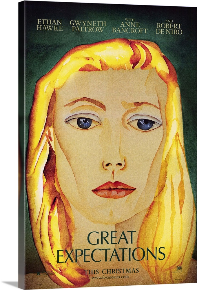 Large Gallery-Wrapped Canvas Wall Art Print 16 x 24 entitled Great Expectations (1997) Gallery-Wrapped Canvas entitled Great Expectations 1997.  Multiple sizes available.  Primary colors within this image include Yellow Pink Peach Dark Forest Green.  Made in the USA.  All products come with a 365 day workmanship guarantee.  Archival-quality UV-resistant inks.  Canvas is acid-free and 20 millimeters thick.  Canvases have a UVB protection built in to protect against fading and moisture and are designed to last for over 100 years.