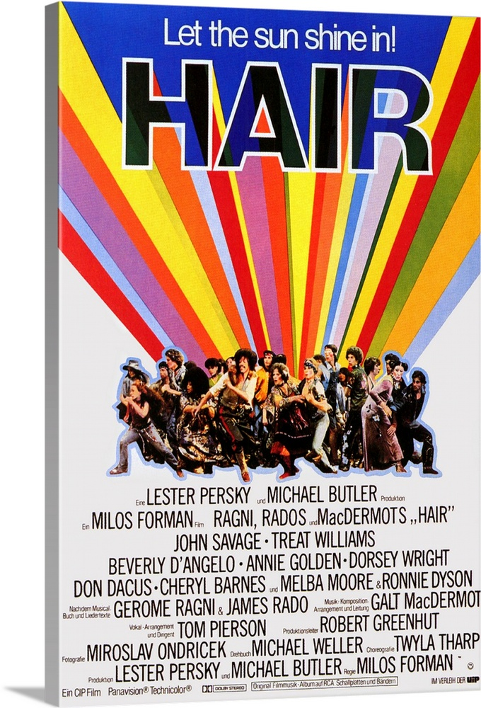 Large Solid-Faced Canvas Print Wall Art Print 20 x 30 entitled Hair (1979) Solid-Faced Canvas Print entitled Hair 1979.  Film version of the explosive 1960s Broadway musical about the carefree life of the flower children and the shadow of the Vietnam War that hangs over them. Great music, as well as wonderful choreography by Twyla Tharp help portray the surprisingly sensitive evocation of the period so long after the fact. Forman has an uncanny knack for understanding the textures of American life. Watch for a thinner Nell Carter.  Multiple sizes available.  Primary colors within this image include Orange, Yellow, Peach, Black.  Made in the USA.  Satisfaction guaranteed.  Inks used are latex-based and designed to last.  Canvas depth is 1.25 and includes a finished backing with pre-installed hanging hardware.  Archival inks prevent fading and preserve as much fine detail as possible with no over-saturation or color shifting.