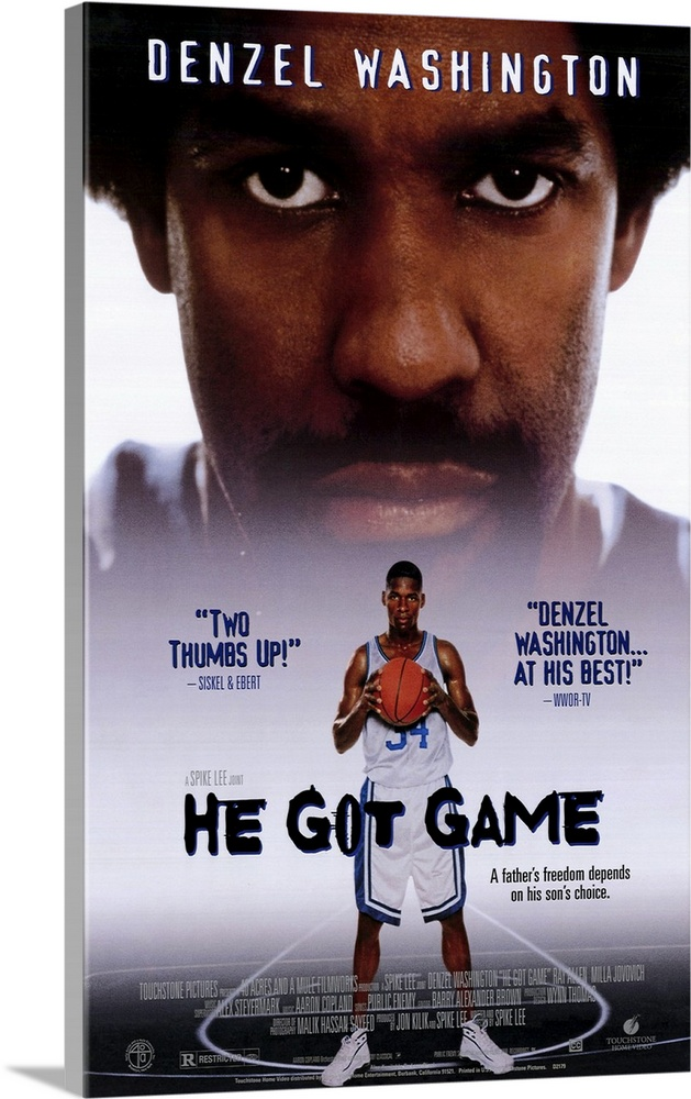 Large Gallery-Wrapped Canvas Wall Art Print 15 x 24 entitled He Got Game (1998) Gallery-Wrapped Canvas entitled He Got Game 1998.  Lee hops all over the place with this basketball drama that reveals more of his love for the game than cohesive filmmaking. Actually two movies in one High school basketball great Jesus Shuttlesworth newcomer and Milwaukee Bucks player Allen must decide between college or a lucrative NBA contract. Then up pops his incarcerated pops, Jake, a haggard Washington to pressure him to chose his wardens alma mater, which turns the film into a shallow look at a strained father-son relationship. Washington is dynamic as the embittered father and Allen is evenly effective. Yet, the reunion is never fully developed and sometimes abandoned, while Lee scores visually by beautifully photographing the glorious hoop moves. Extraneous, stereotypical characters and rauchy sex sequences drag the film further from its dramatic resonance.  Multiple sizes available.  Primary colors within this image include Brown, Dark Blue, Black, Pale Blue.  Made in USA.  All products come with a 365 day workmanship guarantee.  Inks used are latex-based and designed to last.  Museum-quality, artist-grade canvas mounted on sturdy wooden stretcher bars 1.5 thick.  Comes ready to hang.  Canvas frames are built with farmed or reclaimed domestic pine or poplar wood.