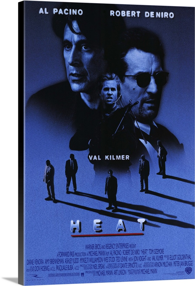 Large Gallery-Wrapped Canvas Wall Art Print 16 x 24 entitled Heat (1995) Gallery-Wrapped Canvas entitled Heat 1995.  Pacino and De Niro in the same scene. Together. Finally. Obsessive master thief McCauley De Niro leads a crack crew on various military-style heists across L.A. while equally obsessive detective Hanna Pacino tracks him. Each man recognizes and respects the others ability and dedication even as they express the willingness to kill each other if necessary. Excellent script with all the fireworks youd expect as well as a surprising look into emotional and personal sacrifice. Beautiful cinematography shows industrial landscape to great effect. Writer-director Mann held onto the screenplay for 12 years.  Multiple sizes available.  Primary colors within this image include Black Royal Blue.  Made in the USA.  All products come with a 365 day workmanship guarantee.  Archival-quality UV-resistant inks.  Canvases are stretched across a 1.5 inch thick wooden frame with easy-to-mount hanging hardware.  Canvases have a UVB protection built in to protect against fading and moisture and are designed to last for over 100 years.