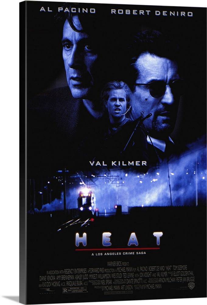 Large Gallery-Wrapped Canvas Wall Art Print 16 x 24 entitled Heat (1995) Gallery-Wrapped Canvas entitled Heat 1995.  Pacino and De Niro in the same scene. Together. Finally. Obsessive master thief McCauley De Niro leads a crack crew on various military-style heists across L.A. while equally obsessive detective Hanna Pacino tracks him. Each man recognizes and respects the others ability and dedication even as they express the willingness to kill each other if necessary. Excellent script with all the fireworks youd expect as well as a surprising look into emotional and personal sacrifice. Beautiful cinematography shows industrial landscape to great effect. Writer-director Mann held onto the screenplay for 12 years.  Multiple sizes available.  Primary colors within this image include Dark Blue Sky Blue Dark Gray.  Made in USA.  All products come with a 365 day workmanship guarantee.  Archival-quality UV-resistant inks.  Canvas is acid-free and 20 millimeters thick.  Canvases are stretched across a 1.5 inch thick wooden frame with easy-to-mount hanging hardware.