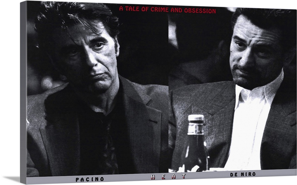 Large Gallery-Wrapped Canvas Wall Art Print 16 x 24 entitled Heat (1995) Gallery-Wrapped Canvas entitled Heat 1995.  Pacino and De Niro in the same scene. Together. Finally. Obsessive master thief McCauley De Niro leads a crack crew on various military-style heists across L.A. while equally obsessive detective Hanna Pacino tracks him. Each man recognizes and respects the others ability and dedication even as they express the willingness to kill each other if necessary. Excellent script with all the fireworks youd expect as well as a surprising look into emotional and personal sacrifice. Beautiful cinematography shows industrial landscape to great effect. Writer-director Mann held onto the screenplay for 12 years.  Multiple sizes available.  Primary colors within this image include Black Light Gray White.  Made in USA.  All products come with a 365 day workmanship guarantee.  Inks used are latex-based and designed to last.  Canvas is acid-free and 20 millimeters thick.  Canvas is designed to prevent fading.