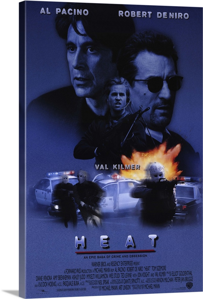 Large Gallery-Wrapped Canvas Wall Art Print 16 x 24 entitled Heat (1995) Gallery-Wrapped Canvas entitled Heat 1995.  Pacino and De Niro in the same scene. Together. Finally. Obsessive master thief McCauley De Niro leads a crack crew on various military-style heists across L.A. while equally obsessive detective Hanna Pacino tracks him. Each man recognizes and respects the others ability and dedication even as they express the willingness to kill each other if necessary. Excellent script with all the fireworks youd expect as well as a surprising look into emotional and personal sacrifice. Beautiful cinematography shows industrial landscape to great effect. Writer-director Mann held onto the screenplay for 12 years.  Multiple sizes available.  Primary colors within this image include Peach Sky Blue Black Muted Blue.  Made in the USA.  Satisfaction guaranteed.  Inks used are latex-based and designed to last.  Canvases have a UVB protection built in to protect against fading and moisture and are designed to last for over 100 years.  Canvases are stretched across a 1.5 inch thick wooden frame with easy-to-mount hanging hardware.