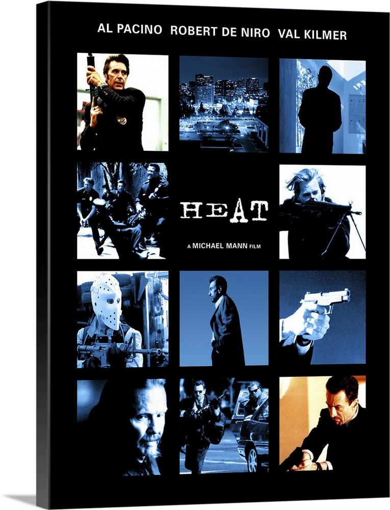 Large Gallery-Wrapped Canvas Wall Art Print 17 x 24 entitled Heat (1995) Gallery-Wrapped Canvas entitled Heat 1995.  Pacino and De Niro in the same scene. Together. Finally. Obsessive master thief McCauley De Niro leads a crack crew on various military-style heists across L.A. while equally obsessive detective Hanna Pacino tracks him. Each man recognizes and respects the others ability and dedication even as they express the willingness to kill each other if necessary. Excellent script with all the fireworks youd expect as well as a surprising look into emotional and personal sacrifice. Beautiful cinematography shows industrial landscape to great effect. Writer-director Mann held onto the screenplay for 12 years.  Multiple sizes available.  Primary colors within this image include Peach Black White Muted Blue.  Made in the USA.  All products come with a 365 day workmanship guarantee.  Inks used are latex-based and designed to last.  Canvases have a UVB protection built in to protect against fading and moisture and are designed to last for over 100 years.  Canvas frames are built with farmed or reclaimed domestic pine or poplar wood.