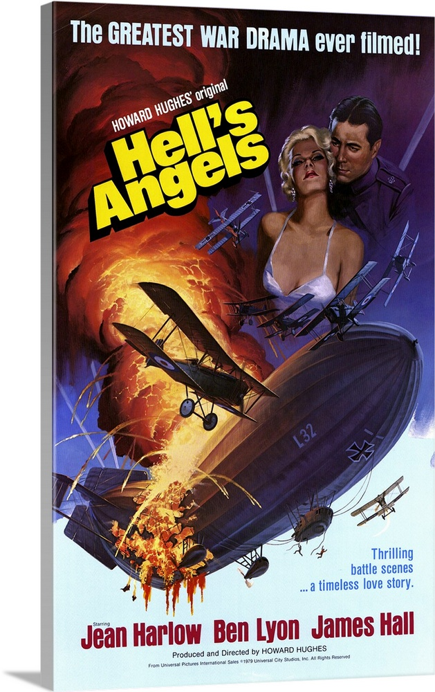 Large Gallery-Wrapped Canvas Wall Art Print 15 x 24 entitled Hells Angels (1930) Gallery-Wrapped Canvas entitled Hells Angels 1930.  Classic WWI aviation movie is sappy and a bit lumbering, but still an extravagant spectacle with awesome air scenes. Studio owner Hughes fired directors Howard Hawks and Luther Reed, spent an unprecedented 3.8 million, and was ultimately credited as director although Whale also spent some time in the directors chair. Three years in the making, the venture cost three pilots their lives and lost a bundle. Harlow replaced Swedish Greta Nissen when sound was added and was catapulted into blond bombshelldom as a two-timing dame. And the tinted and two-color scenes--restored in 1989--came well before Ted Turner ever wielded a crayola.  Multiple sizes available.  Primary colors within this image include Yellow, Peach, Black, White.  Made in the USA.  Satisfaction guaranteed.  Archival-quality UV-resistant inks.  Museum-quality, artist-grade canvas mounted on sturdy wooden stretcher bars 1.5 thick.  Comes ready to hang.  Canvas is a 65 polyester, 35 cotton base, with two acrylic latex primer basecoats and a semi-gloss inkjet receptive topcoat.