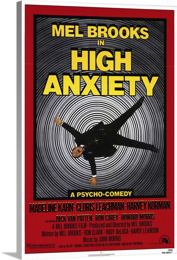 Large Solid-Faced Canvas Print Wall Art Print 20 x 30 entitled High Anxiety (1977) Solid-Faced Canvas Print entitled High Anxiety 1977.  Brooks tries hard to please in this low-brow parody of Hitchcock films employing dozens of references to films like Psycho, Spellbound, The Birds, and Vertigo. Tells the tale of a height-fearing psychiatrist caught up in a murder mystery. The title song performed a la Sinatra by Brooks is one of the films high moments. Brooks also has a lot of fun with Hitchcockian camera movements. Uneven What Brooks but amusing tribute.  Multiple sizes available.  Primary colors within this image include Dark Red, Light Yellow, Black, White.  Made in the USA.  All products come with a 365 day workmanship guarantee.  Inks used are latex-based and designed to last.  Canvas depth is 1.25 and includes a finished backing with pre-installed hanging hardware.  Archival inks prevent fading and preserve as much fine detail as possible with no over-saturation or color shifting.