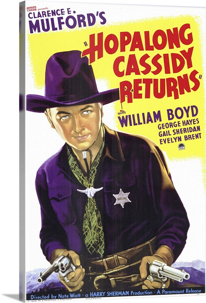 Hopalong Cassidy Returns (1936)  Canvas Art Print