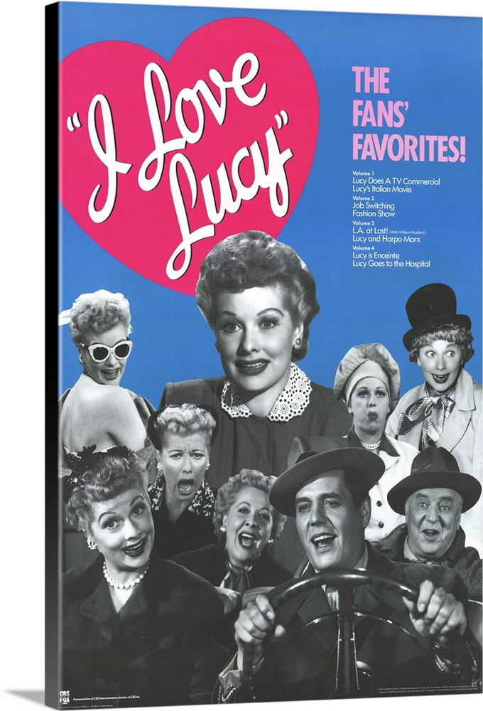 Large Solid-Faced Canvas Print Wall Art Print 20 x 30 entitled I Love Lucy (1951) Solid-Faced Canvas Print entitled I Love Lucy 1951.  Multiple sizes available.  Primary colors within this image include Fuschia, Light Purple, Dark Gray, Royal Blue.  Made in the USA.  All products come with a 365 day workmanship guarantee.  Inks used are latex-based and designed to last.  Canvas depth is 1.25 and includes a finished backing with pre-installed hanging hardware.  Canvas is handcrafted and made-to-order in the United States using high quality artist-grade canvas.