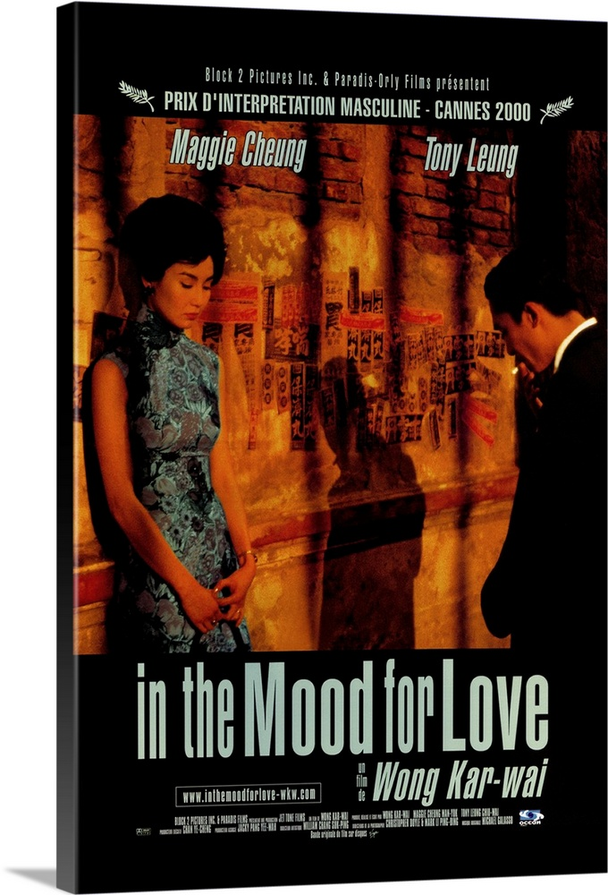 Large Solid-Faced Canvas Print Wall Art Print 20 x 30 entitled In the Mood For Love (2000) Solid-Faced Canvas Print entitled In the Mood For Love 2000.  Romantic melodrama set in the Shanghai community of Hong Kong in 1962. Newspaper editor Chow Leung Chiu-Wai and his wife have just moved into a new apartment across the hall from Li-zhen Cheung and her husband. Both their respective spouses are away from home a great deal, traveling on business, so the lonely duo begin a tentative friendship. Then Chow begins to suspect his wife is having an affair and it quickly becomes apparent that its with Li-zhens husband. Gorgeous to look at, melancholy in tone, if somewhat oblique. Chinese with subtitles.  Multiple sizes available.  Primary colors within this image include Orange, Brown, Plum, Silver.  Made in USA.  Satisfaction guaranteed.  Archival-quality UV-resistant inks.  Canvas is handcrafted and made-to-order in the United States using high quality artist-grade canvas.  Archival inks prevent fading and preserve as much fine detail as possible with no over-saturation or color shifting.