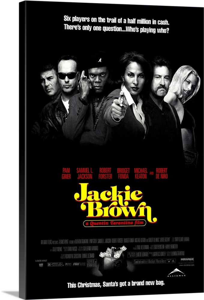 Large Gallery-Wrapped Canvas Wall Art Print 16 x 24 entitled Jackie Brown (1997) Gallery-Wrapped Canvas entitled Jackie Brown 1997.  Tarantino finally climbs back into the directors chair with his leisurely but satisfying adaptation of Elmore Leonards Rum Punch. No, its not Pulp Fiction, but it could do for Pam Grier what Pulp did for John Travolta. Grier stars as out-of-luck-and-options stewardess Jackie Brown, who runs money to Mexico for ruthless arms dealer Ordell Jackson. Busted on one of her errands, she comes up with an intricate plan to get out from under, hopefully with the money and without getting caught or killed. Slower and less bloody than Quentin fans are used to, but as usual, he gets killer performances from everybody. Cool dialogue and chronological shifts are again key ingredients, along with a hightened sense of character development. Fonda and De Niro make the most of small but crucial roles, but its Forster another 70s whatever-happened-to refugee who provides the standout performance. The look and feel of the movie reflects the dingy world it inhabits, as well as Tarantinos love of 70s blaxploitation flicks.  Multiple sizes available.  Primary colors within this image include Yellow, Dark Red, Black, White.  Made in the USA.  Satisfaction guaranteed.  Archival-quality UV-resistant inks.  Canvas is a 65 polyester, 35 cotton base, with two acrylic latex primer basecoats and a semi-gloss inkjet receptive topcoat.  Canvas frames are built with farmed or reclaimed domestic pine or poplar wood.